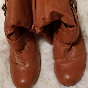 """Boots tan leather with 2"""" leather covered heel."""